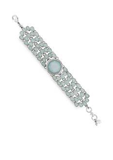 Lucky Brand Silver-Tone Seafoam Stone Link Chain Bracelet