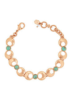 Lucky Brand Rose Gold-Tone Turquoise Link Bracelet