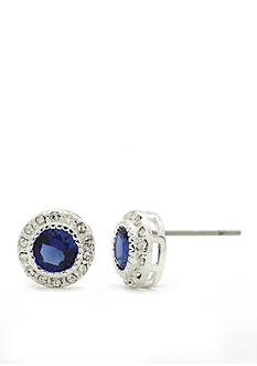 New Directions® Silver-Tone Blue Pave Round Stone Cubic Zirconia Button Boxed Earrings