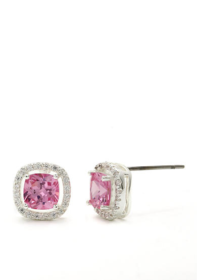 New Directions® Silver-Tone Pink Cushion Cut Cubic Zirconia Pave Boxed Earrings
