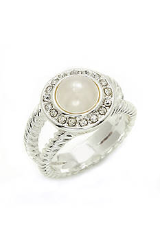 New Directions® Silver-Tone Pearl Hue Crystal Pave Boxed Ring