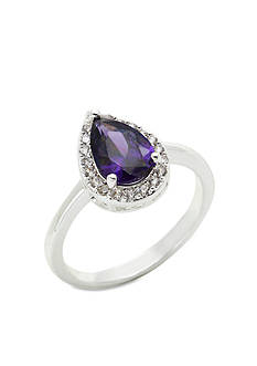 New Directions® Silver-Tone Cubic Zirconia Amethyst Tear Drop Pave Boxed Ring