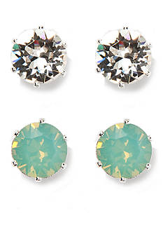 New Directions Silver-Tone Swarovski® Elements Pacific Opal and Crystal Stud Duo Boxed Earrings