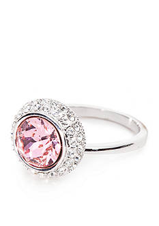New Directions® Silver-Tone Swarovski® Elements Pink Tourmaline Boxed Ring