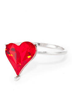 New Directions® Silver-Tone Swarovski® Elements Red Heart Boxed Ring