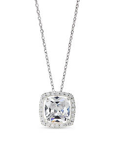 New Directions Silver-Tone Square Cubic Zirconia Halo Pendant Boxed Necklace