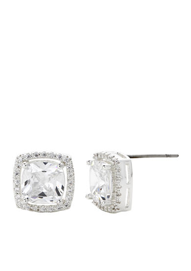 New Directions® Silver-Tone Cubic Zirconia Halo Button Boxed Earrings