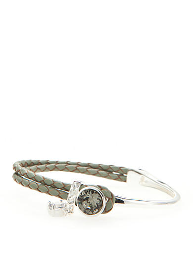 New Directions® Silver-Tone Swarovski Elements® Charcoal Crystal Gray Leather Boxed Bracelet