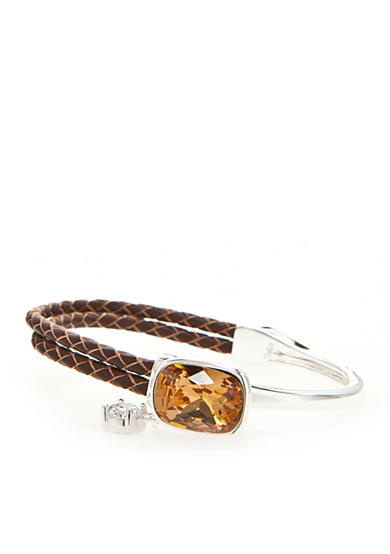 New Directions® Silver-Tone Swarovski® Elements Topaz Crystal Brown Leather Boxed Bracelet