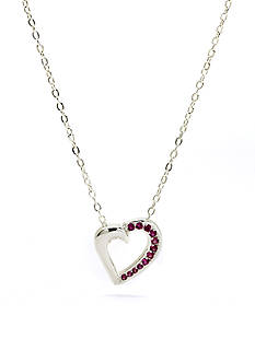 New Directions® Silver-Tone Crystal Ruby Heart Pendant Boxed Necklace