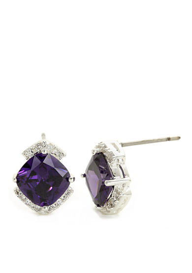 New Directions® Silver-Tone Amethyst Cubic Zirconia Stud Boxed Earrings
