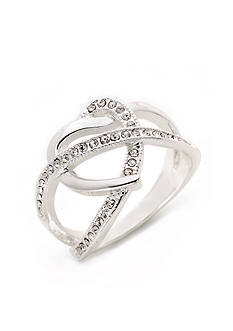 New Directions Silver-Tone Crystal Open Twist Boxed Ring