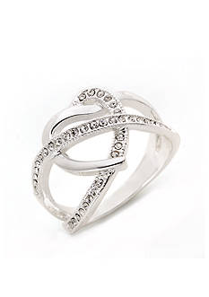 New Directions® Silver-Tone Crystal Open Twist Boxed Ring