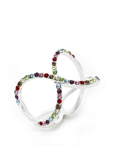 New Directions® Silver-Tone Colorful Crystal Infinity Boxed Ring