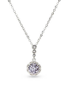 New Directions® Silver-Tone Cubic Zirconia Amethyst Pendant Boxed Necklace