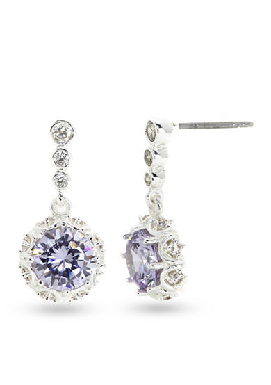 New Directions® Silver-Tone Cubic Zirconia Amethyst Drop Boxed Earrings