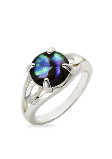 New Directions® Silver-Tone Abalone Shell Boxed Ring