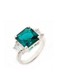 New Directions® Silver-Tone Emerald Cubic Zirconia Boxed Ring