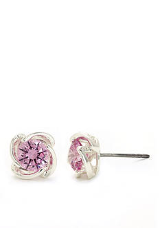 New Directions Silver-Tone Pink Cubic Zirconia Stud Boxed Earrings