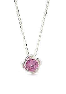 New Directions® Silver-Tone Pink Cubic Zirconia Boxed Necklace