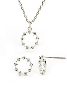 New Directions® Silver-Tone Crystal Necklace and Earring Boxed Set