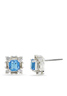 New Directions® Silver-Tone Blue Cubic Zirconia Square Stud Boxed Earrings