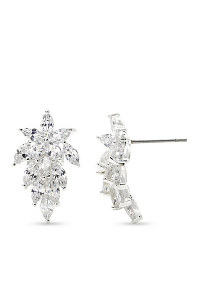 New Directions® Silver-Tone Cubic Zirconia Cluster Button Earrings