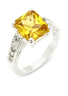 New Directions Silver-Tone Square Jonquil Cubic Zirconia Boxed Ring
