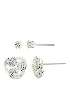 New Directions Silver-Tone Round Cubic Zirconia Boxed Earrings