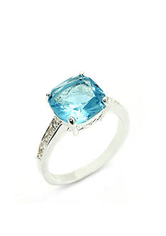 New Directions Silver-Tone Blue Cubic Zirconia Cushion Cut Boxed Ring