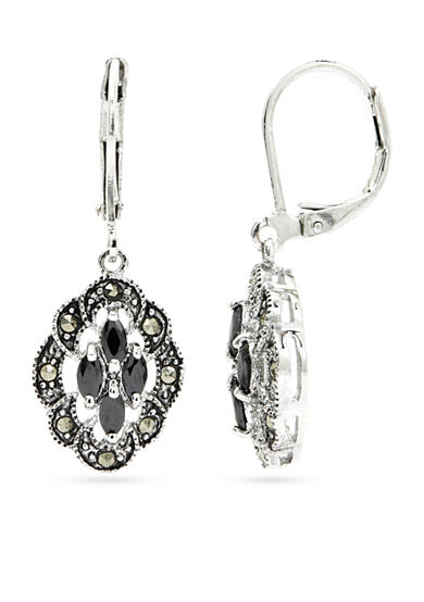 New Directions® Silver-Tone Marcasite Crystal Drop Boxed Earrings