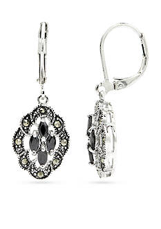 New Directions Silver-Tone Marcasite Crystal Drop Boxed Earrings