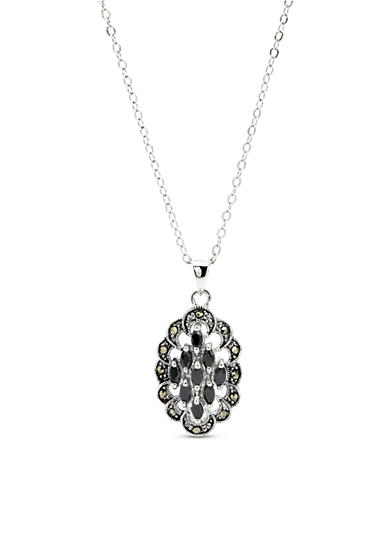 New Directions® Silver-Tone Marcasite Pendant Boxed Necklace