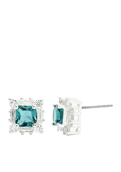 New Directions® Silver-Tone Emerald Cubic Zirconia Stud Boxed Earrings