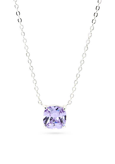 New Directions® Silver-Tone Amethyst Cubic Zirconia Pendant  Boxed Necklace