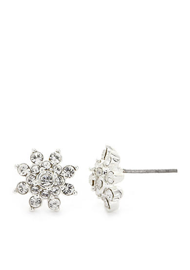 New Directions® Silver-Tone Crystal Flower Stud Earrings