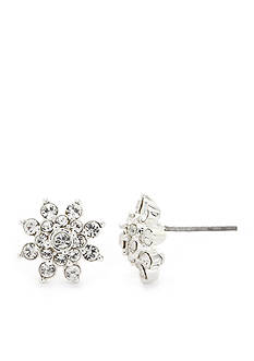 New Directions Silver-Tone Crystal Flower Stud Earrings