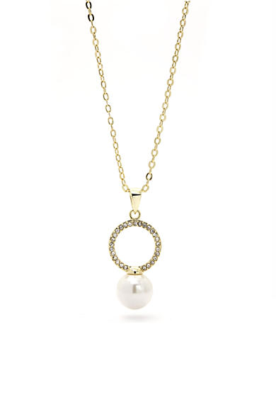New Directions® Gold-Tone Crystal Circle Pendant Boxed Necklace