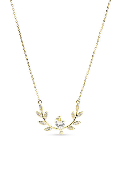 New Directions® Gold-Tone Cubic Zirconia Bird on a Branch Pendant Boxed Necklace