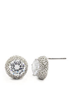 New Directions Silver-Tone Cubic Zirconia Scroll Button Boxed Earrings