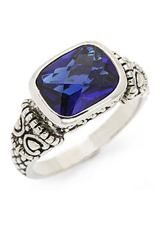 New Directions Silver-Tone Blue Crystal Scroll Boxed Ring