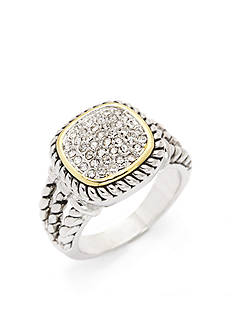 New Directions Two-Tone Crystal Rope Band Boxed Ring