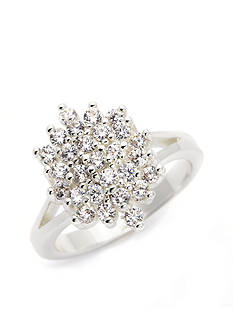New Directions Silver-Tone Cubic Zirconia Cluster Boxed Ring