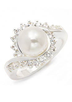 New Directions Silver-Tone Crystal Pearl Swirl Boxed Ring