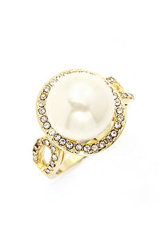 New Directions Gold-Tone Cubic Zirconia Pearl Boxed Ring