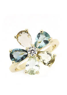 New Directions Gold-Tone Crystal Flower Boxed Ring