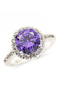 New Directions Silver-Tone Purple Cubic Zirconia Boxed Ring