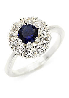 New Directions Silver-Tone Blue Cubic Zirconia Boxed Ring