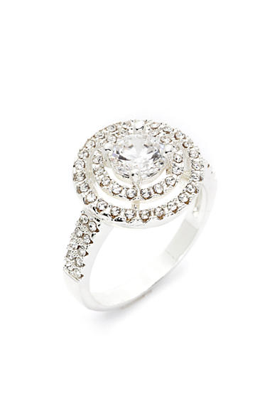 New Directions® Silver-Tone Round Crystal Boxed Ring
