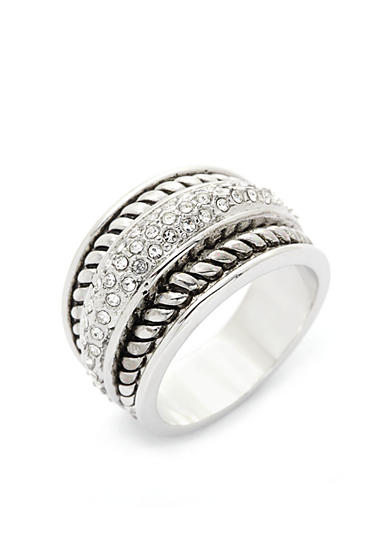 New Directions® Silver-Tone Crystal Antique Boxed Ring